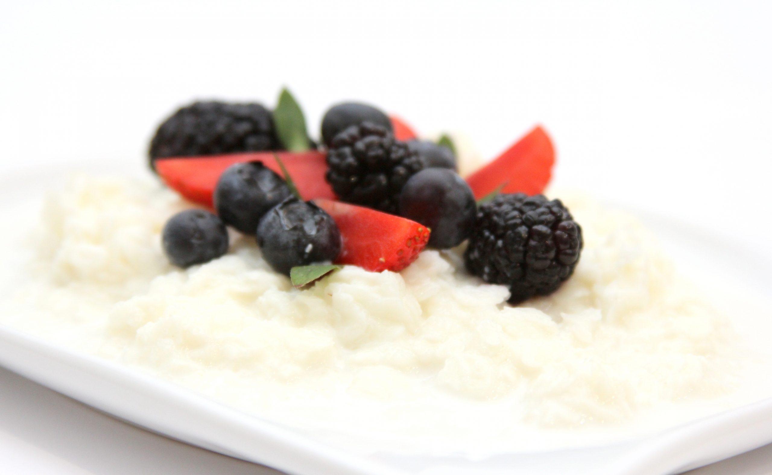 Mliečna ryžová kaša z ryžových vločiek